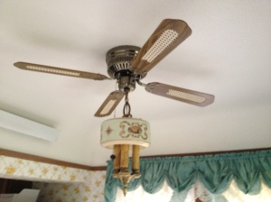 Old school fan and light in the dinette area too!